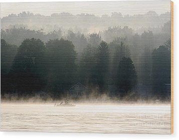 A Foggy Morning Fishing Wood Print