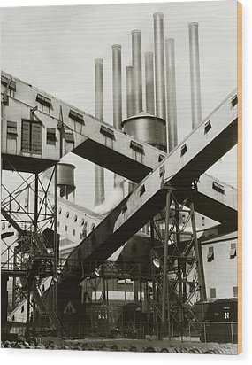 A Ford Automobile Factory Wood Print by Charles Sheeler