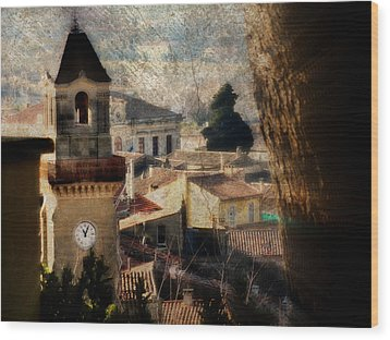 A French Village Wood Print by Tina Concetta Marzocca
