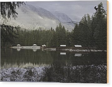 Wood Print featuring the pyrography A Frost Day At The Lake. by Timothy Latta