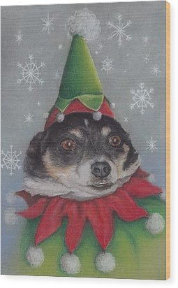A Furry Christmas Elf Wood Print by Pamela Humbargar