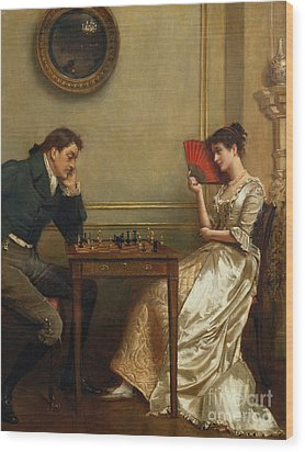 A Game Of Chess Wood Print by George Goodwin Kilburne