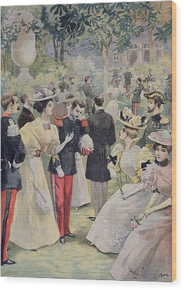 A Garden Party At The Elysee Wood Print by Fortune Louis Meaulle