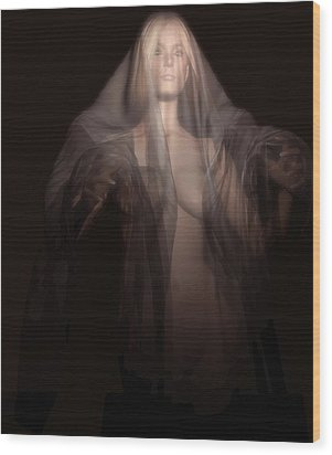 Wood Print featuring the digital art A Ghost In The Dark by Kaylee Mason