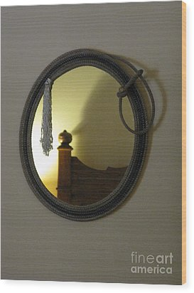 A Ghost Of The Cowboy Wood Print by Ausra Huntington nee Paulauskaite