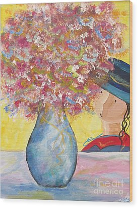 Wood Print featuring the painting A Girl And Her Flower Vase. by Nereida Rodriguez