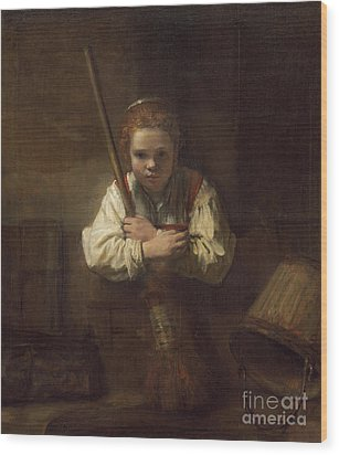 A Girl With A Broom Wood Print by Rembrandt