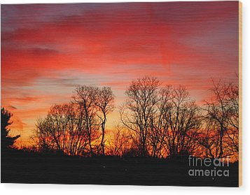 Wood Print featuring the photograph A Glowing January Sunrise by Jay Nodianos