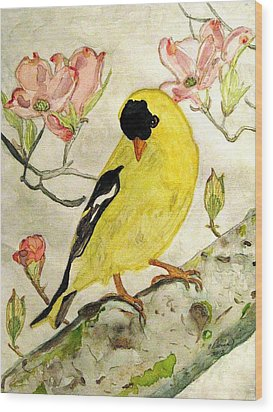 A Goldfinch Spring Wood Print