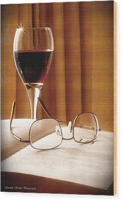 Wood Print featuring the photograph A Good Book And A Glass Of Wine by Lucinda Walter