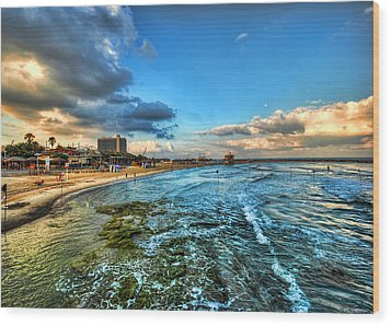 Wood Print featuring the photograph a good morning from Hilton's beach by Ron Shoshani