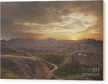 A Good Sunrise In The Badlands Wood Print