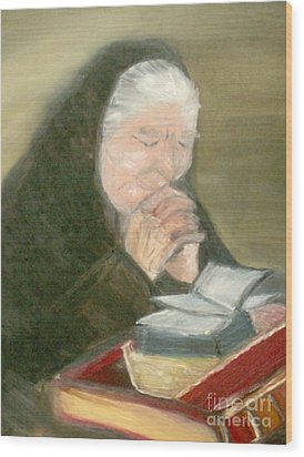 A Grandmother's Prayer Wood Print by Helena Bebirian