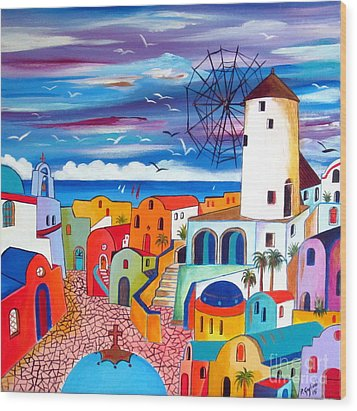 A Greek Mill And The Colors Of Oia Santorini  Wood Print
