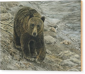 Wood Print featuring the drawing A Grey And Grizzly Day by Sandra LaFaut