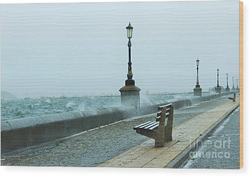 A Grey Wet Day By The Sea Wood Print