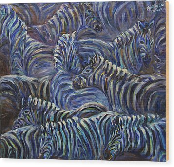 Wood Print featuring the painting A Group Of Zebras by Xueling Zou