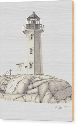 Wood Print featuring the drawing A Guiding Light by Patricia Hiltz