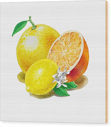 Wood Print featuring the painting A Happy Citrus Bunch Grapefruit Lemon Orange by Irina Sztukowski
