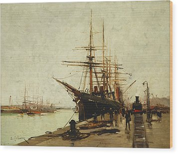 A Harbor Wood Print by Eugene Galien-Laloue