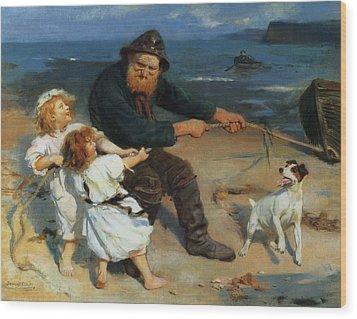A Harbor Scene Wood Print by Arthur John Elsley