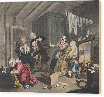 A Harlots Progress, Plate V Wood Print by William Hogarth