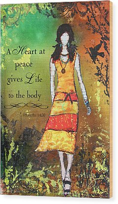 A Heart At Peace Inspirational Christian Artwork With Bible Verse Wood Print by Janelle Nichol