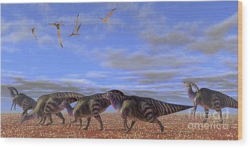 A Herd Of Parasaurolophus Dinosaurs Wood Print by Corey Ford