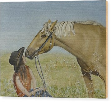 A Horses Gentle Touch Wood Print by Kelly Mills