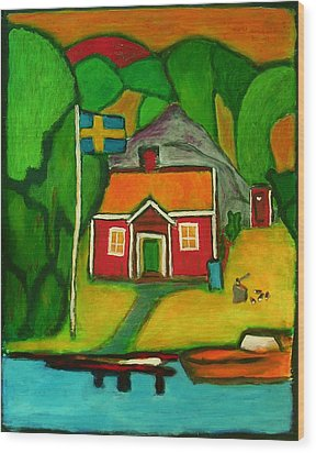 A House In Sweden Wood Print