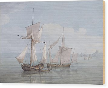 A Hoy And A Lugger With Other Shipping On A Calm Sea  Wood Print by John Thomas Serres
