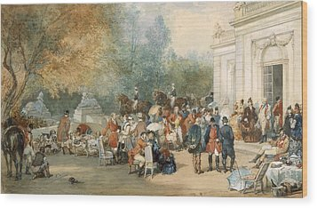A Hunting Breakfast In England, 1870 Wood Print by Eugene-Louis Lami