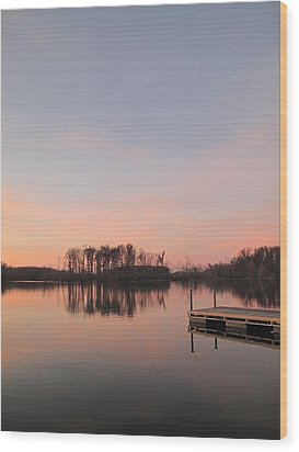 A Jetty Into Crab Orchard Lake Wood Print
