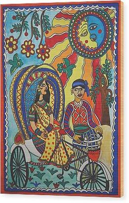 A Journey By Rickshaw Wood Print by Shakhenabat Kasana