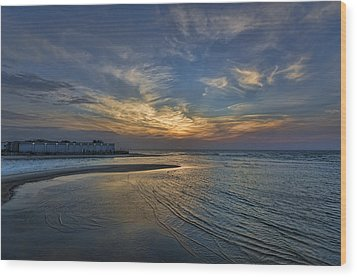 a joyful sunset at Tel Aviv port Wood Print by Ron Shoshani