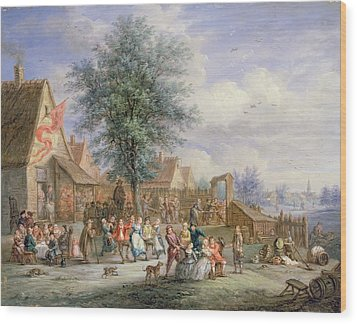A Kermesse On St. Georges Day Wood Print by Angel-Alexio Michaut