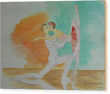 A Kiss In Ballet  Wood Print by Geeta Biswas