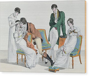 A Kissing Game Wood Print by French School