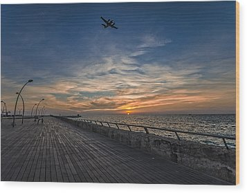 Wood Print featuring the photograph a kodak moment at the Tel Aviv port by Ron Shoshani