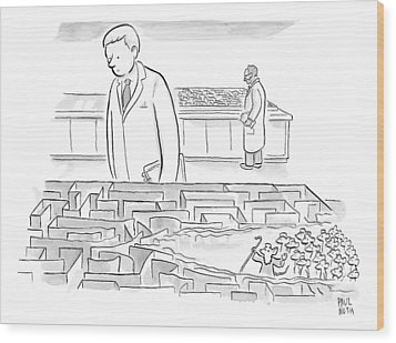 A Laboratory Scientist Looks On As The Walls Wood Print by Paul Noth