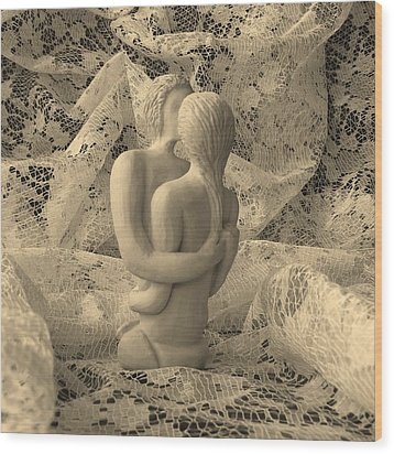 A Lace Kiss Wood Print by Barbara St Jean
