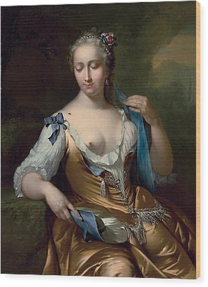 A Lady In A Landscape With A Fly On Her Shoulder Wood Print by Frans van der Mijn