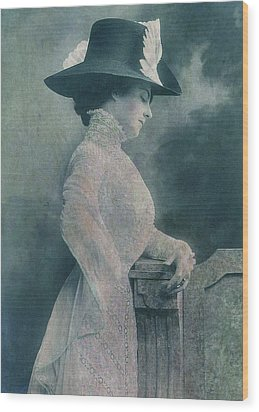 A Lady Ponders Wood Print by Sarah Vernon