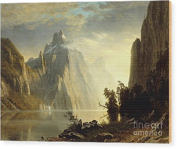 A Lake In The Sierra Nevada Wood Print by Albert Bierstadt