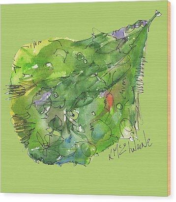 A Leaf Wood Print by Kathleen McElwaine