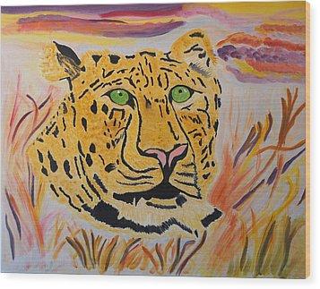 A Leopard's Gaze Wood Print by Meryl Goudey
