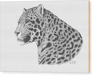 A Leopard's Watchful Eye Wood Print