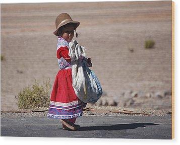 A Little Girl In The  High Plain Wood Print