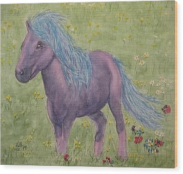 Wood Print featuring the painting A Little Girls Imagination Pony by Kelly Mills