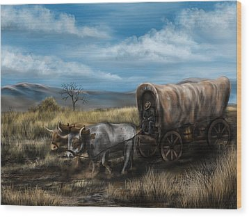 A Long Journey - Covered Wagon On The Prairie Wood Print by Ron Grafe